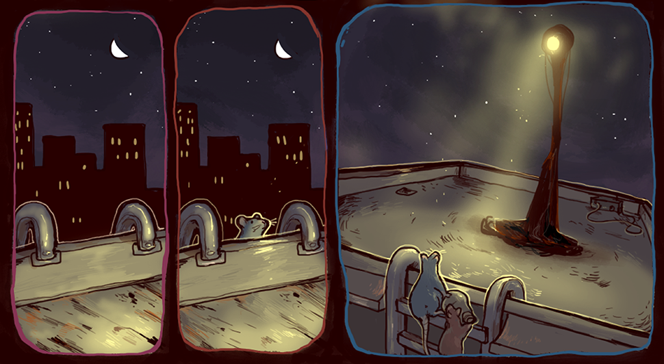 """Light Pollution,"" written and illustrated by iguanamouth"